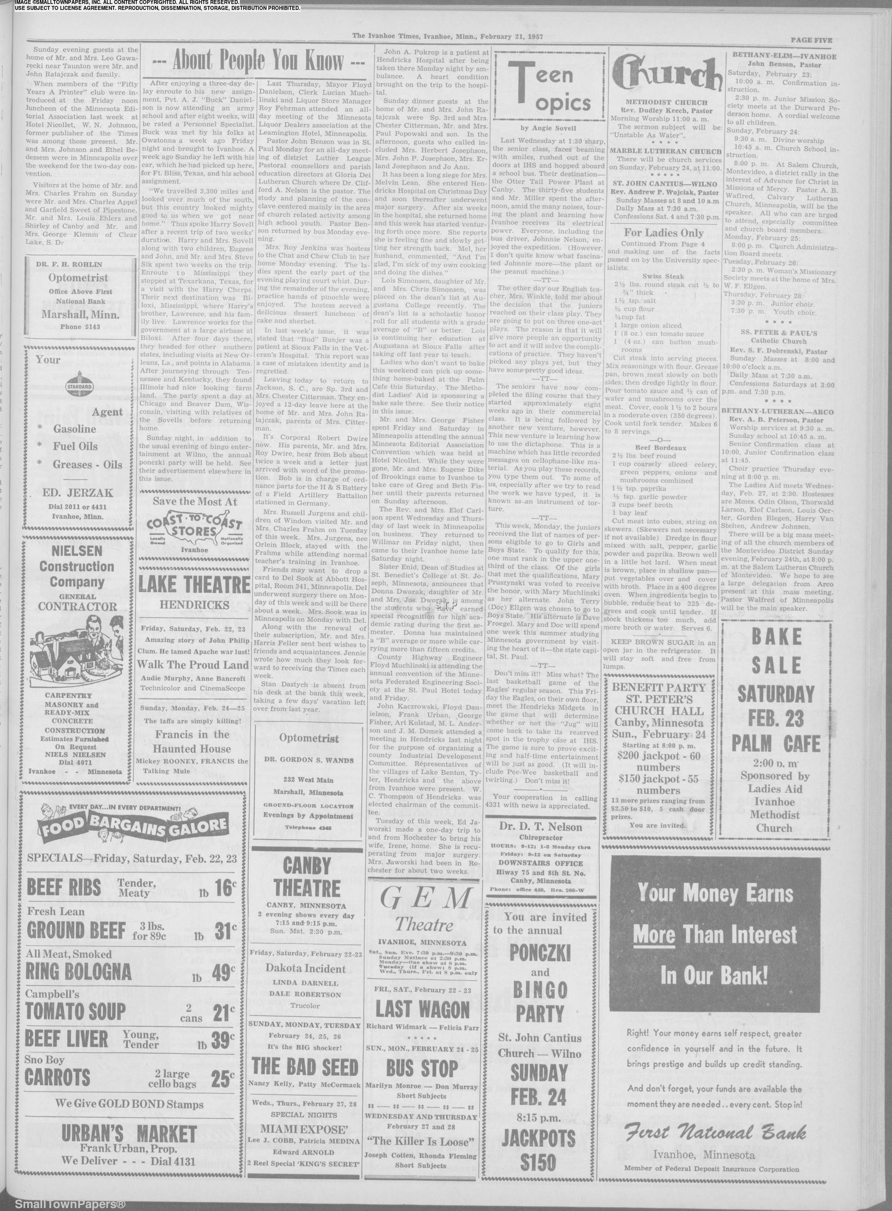 Ivanhoe Times February 21, 1957: Page 5